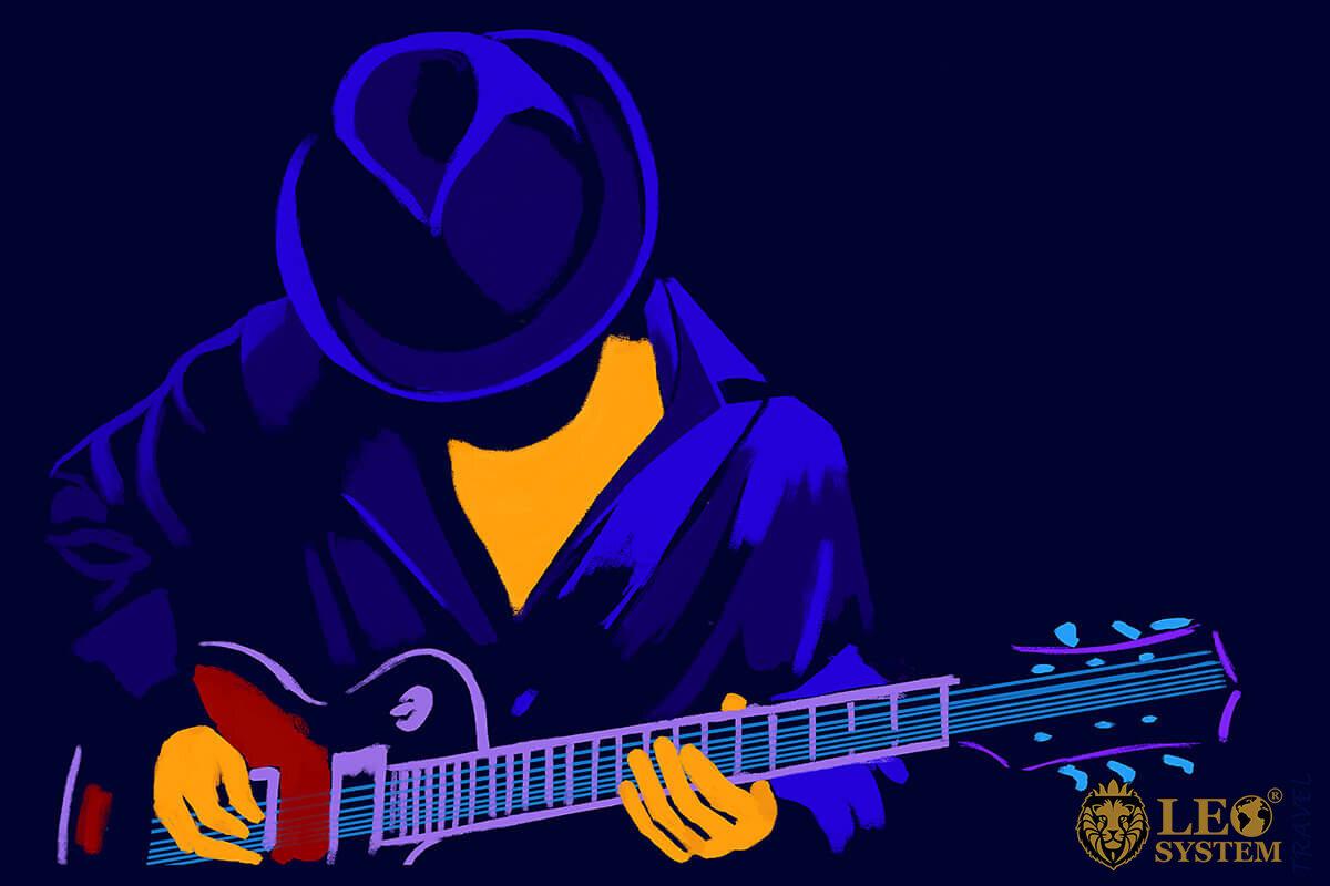 Drawn American man plays the guitar