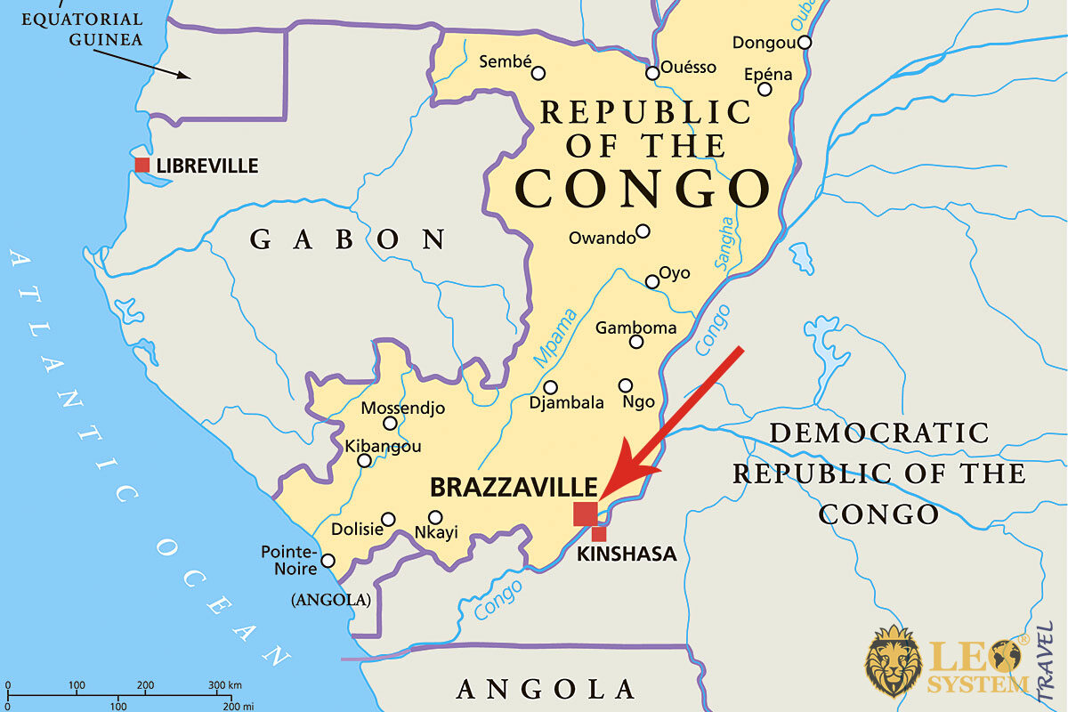 Map of Republic of Congo, Brazzaville with the pointer location