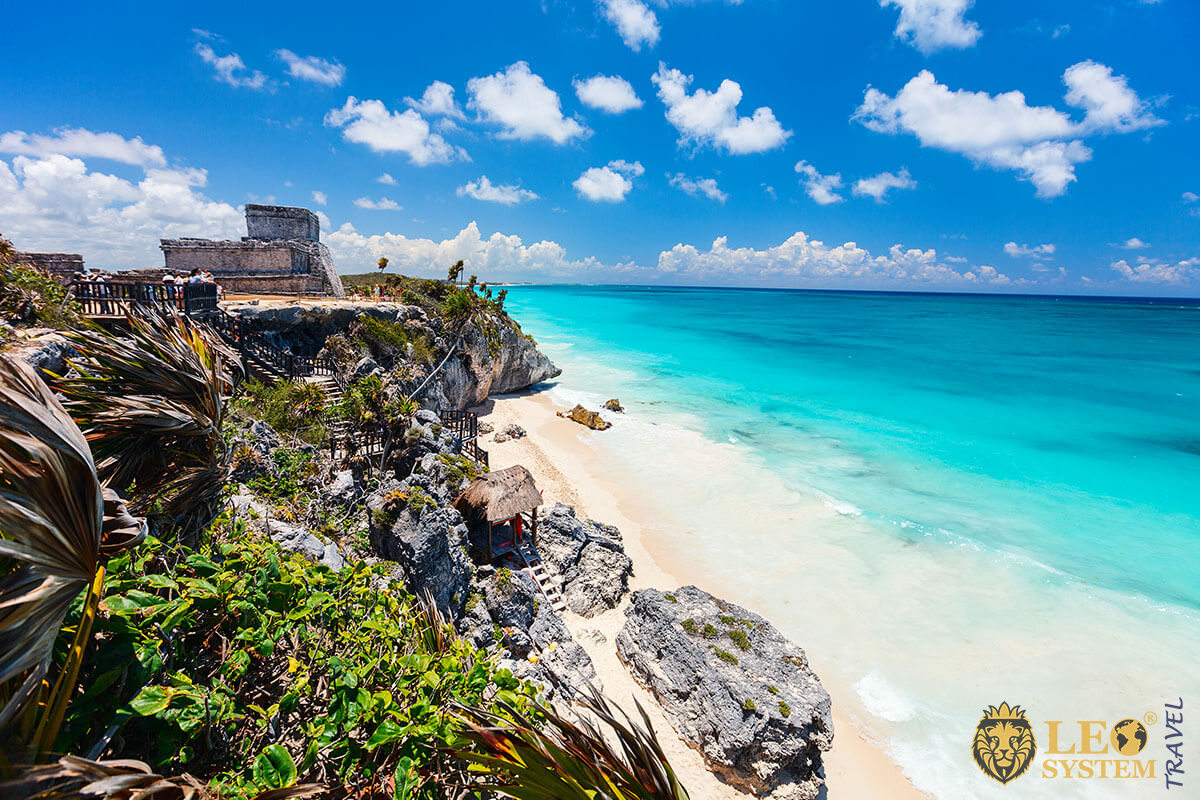 Beautiful Caribbean coast in Tulum Mexico