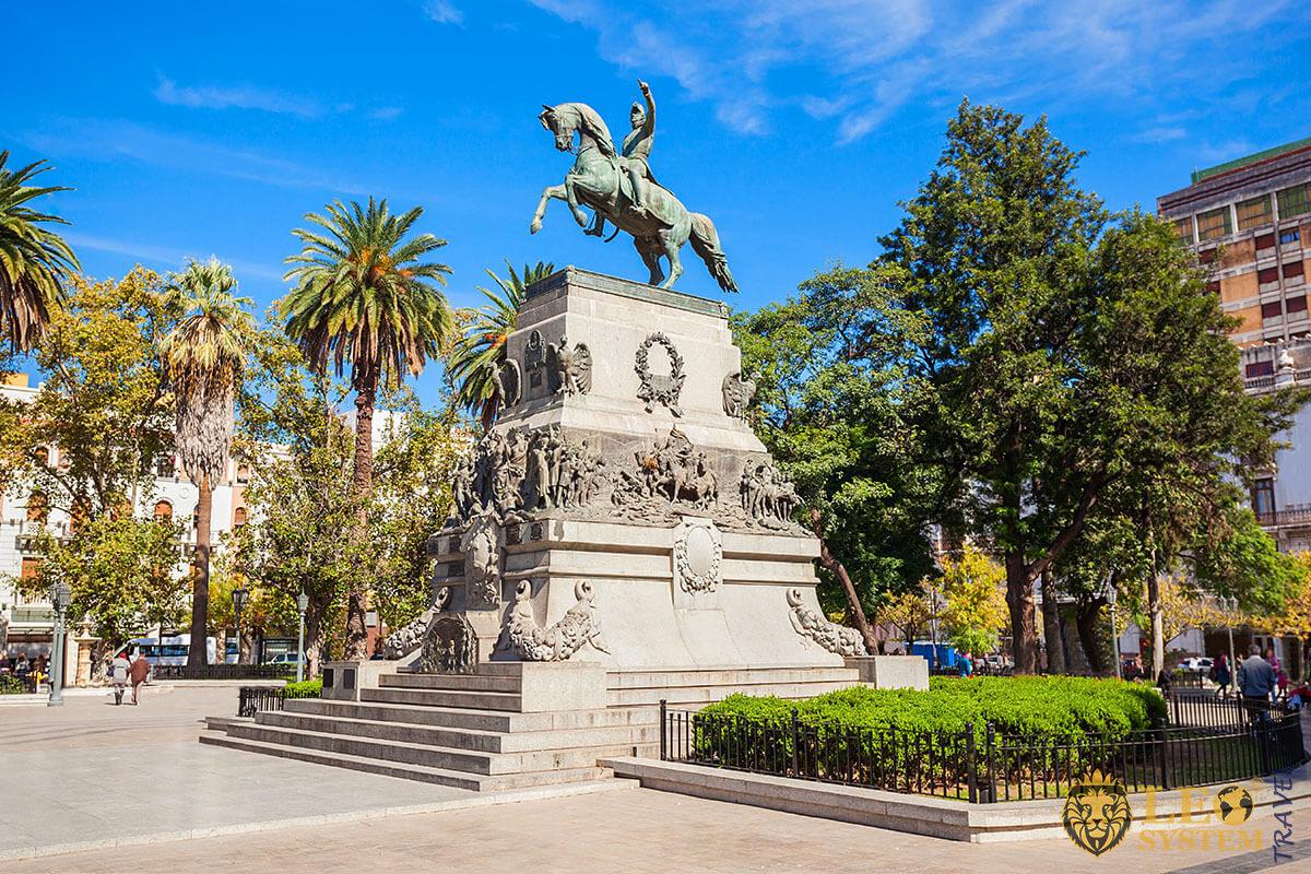 Plaza San Martin square in Cordoba, Argentina
