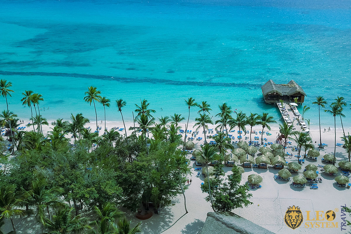 View of a beautiful Caribbean beach resort in La Romana, Dominican Republic