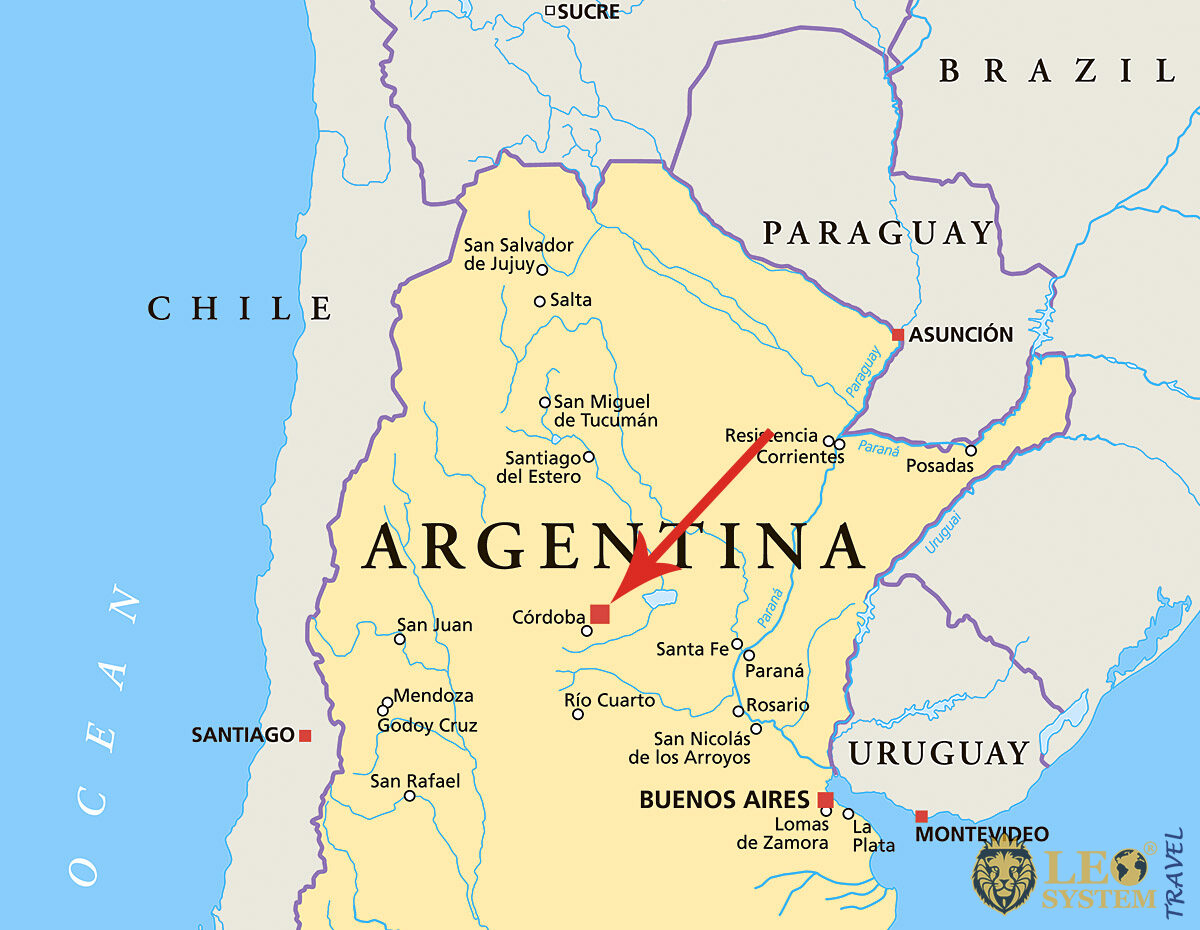 Map of Argentina, Cordoba with the pointer location