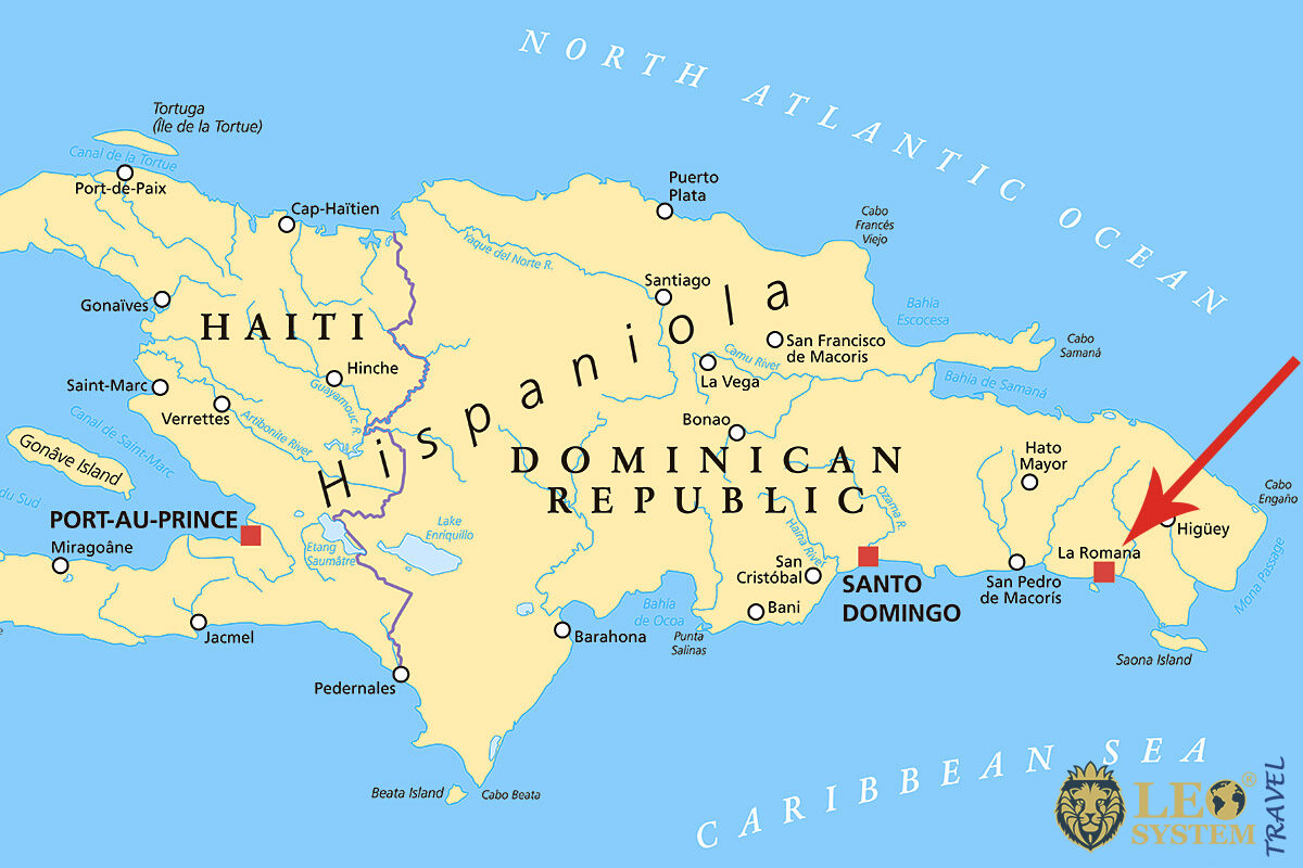 Map of Dominican Republic, La Romana with the pointer location