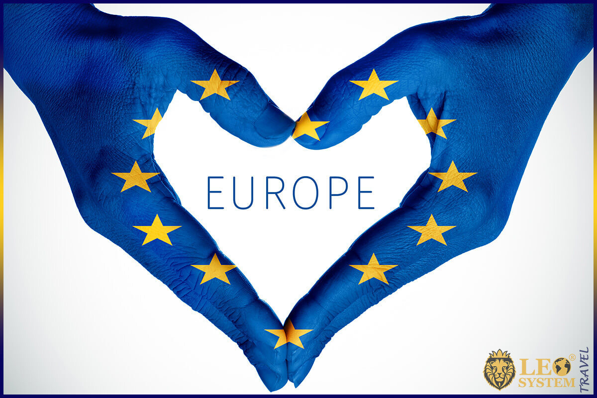 The image of the hands in the form of a heart shape - Love for Europe