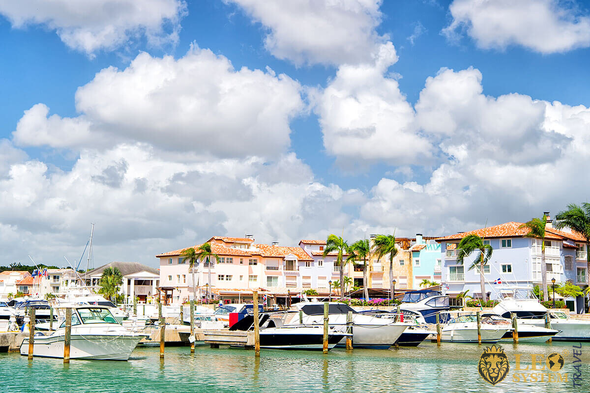 Luxury yachts docked in the port in bay - La Romana