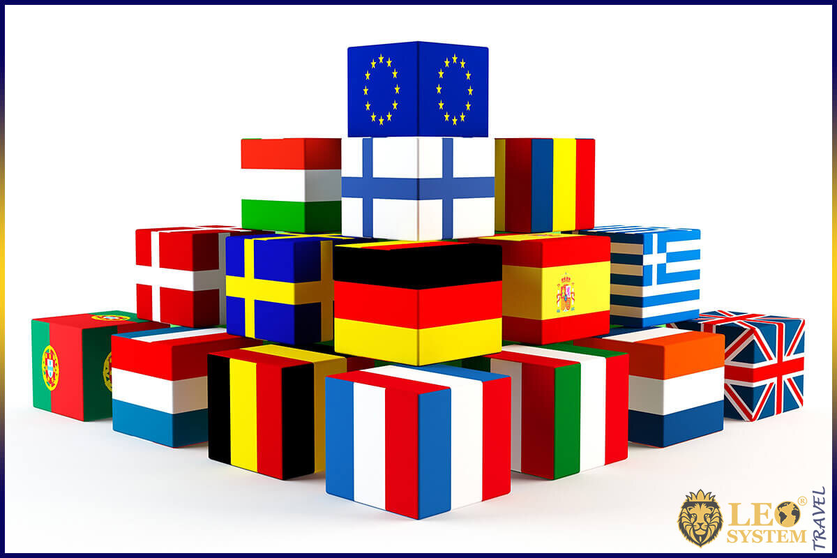 Pyramid of boxes with flags of Europe
