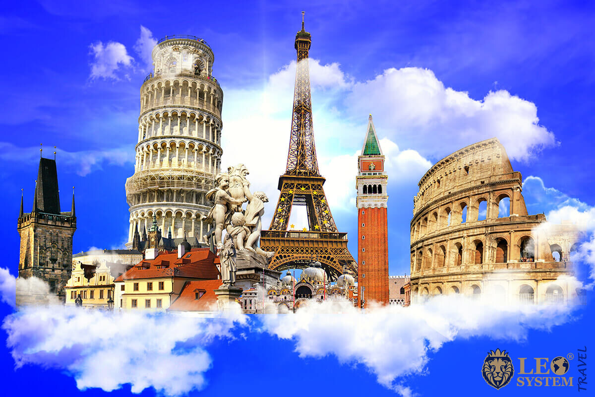 Collage of European countries - main attractions
