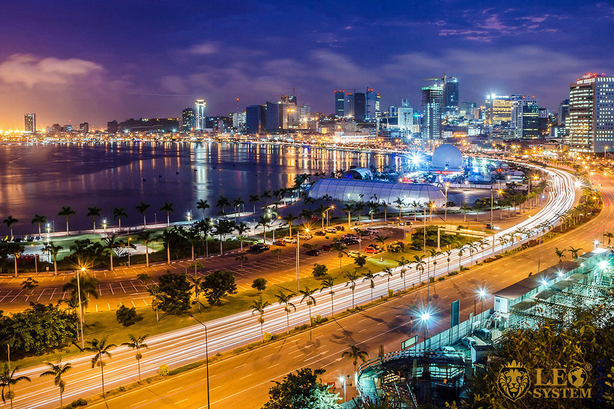 Beautiful view of the night city and the promenade - Luanda, Angola