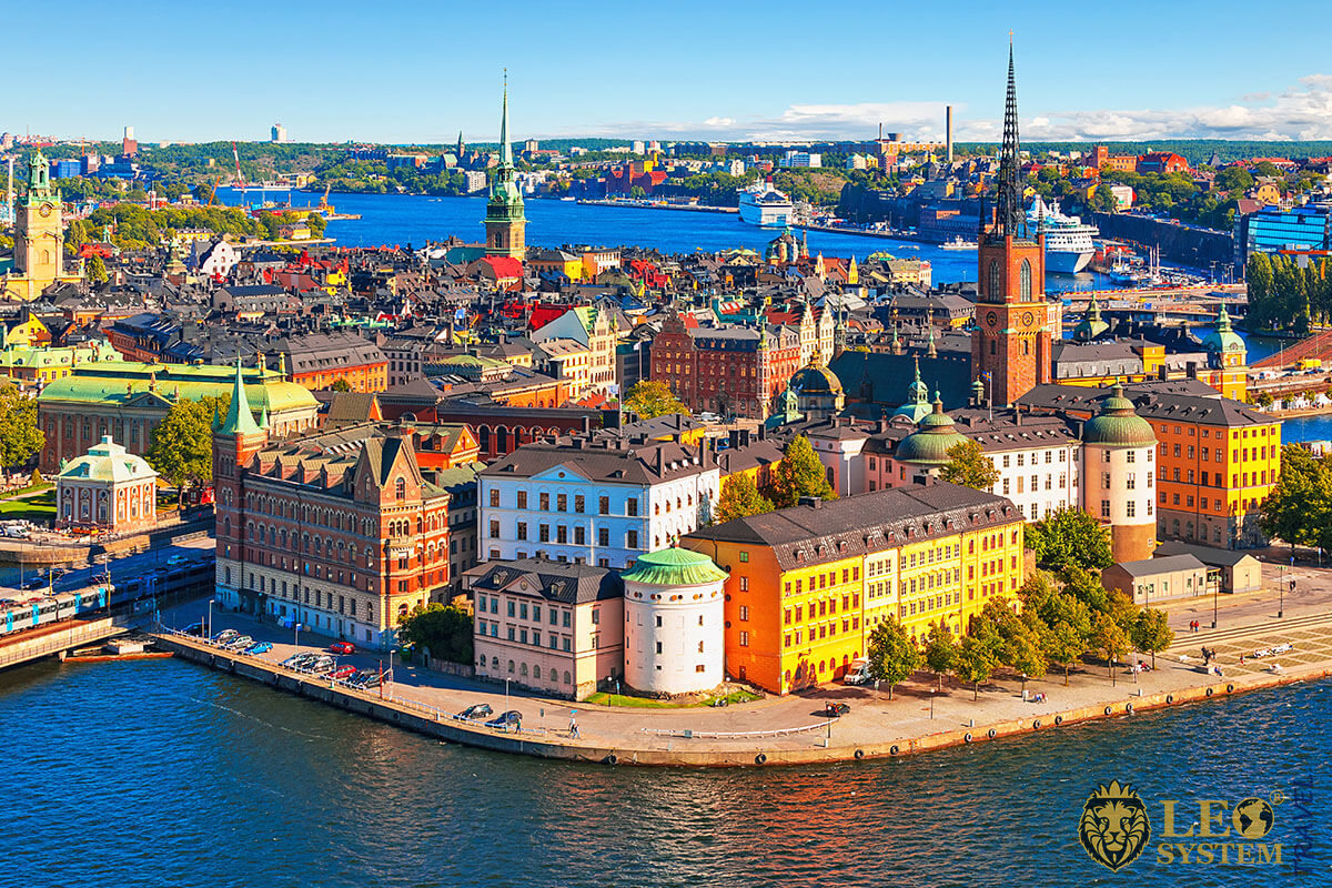 Gamla Stan - old town with residential buildings and beautiful architecture