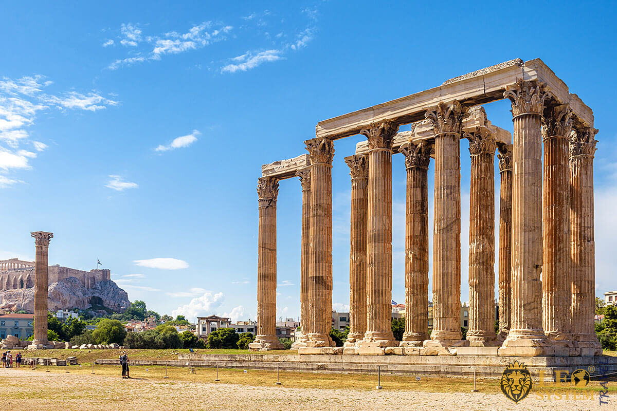 Panorama of Temple of Olympian Zeus, Athens, Greece