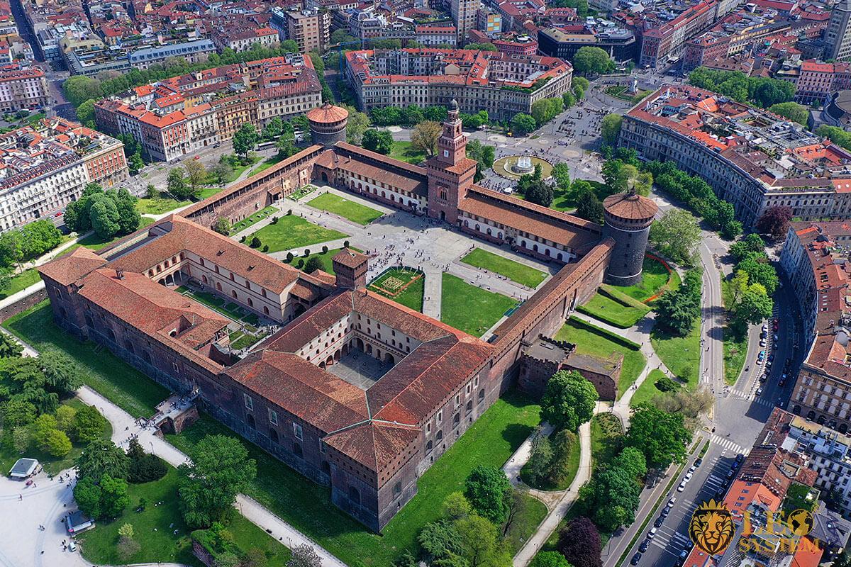 Castello Sforzesco - popular tourist attraction in Milan, Italy