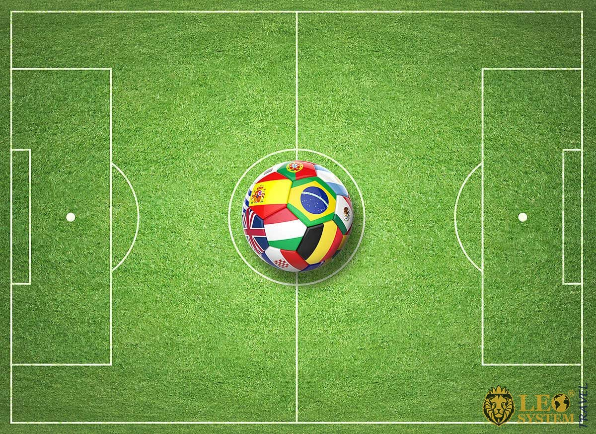 Image of a soccer field with a ball