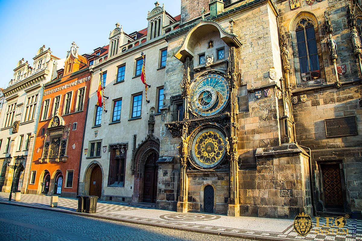 Astronomical clock is located in Old Town Square of Prague