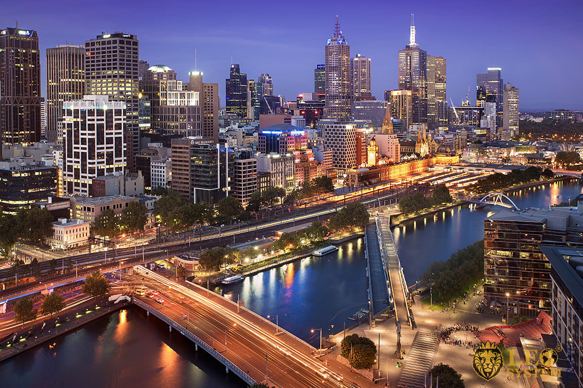 View of the night Melbourne