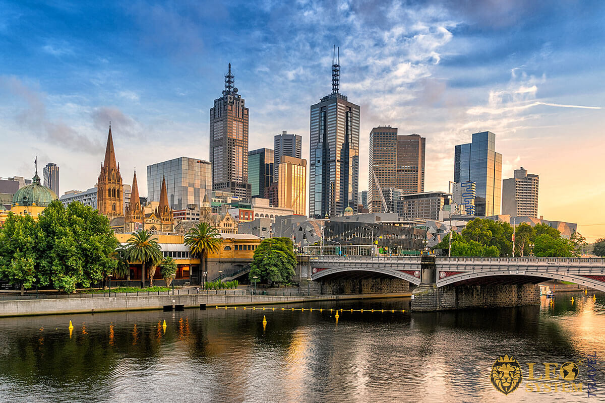 Nice view of the city center of Melbourne, Australia