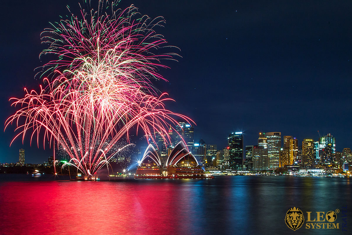 Amazing fireworks in Australia at night