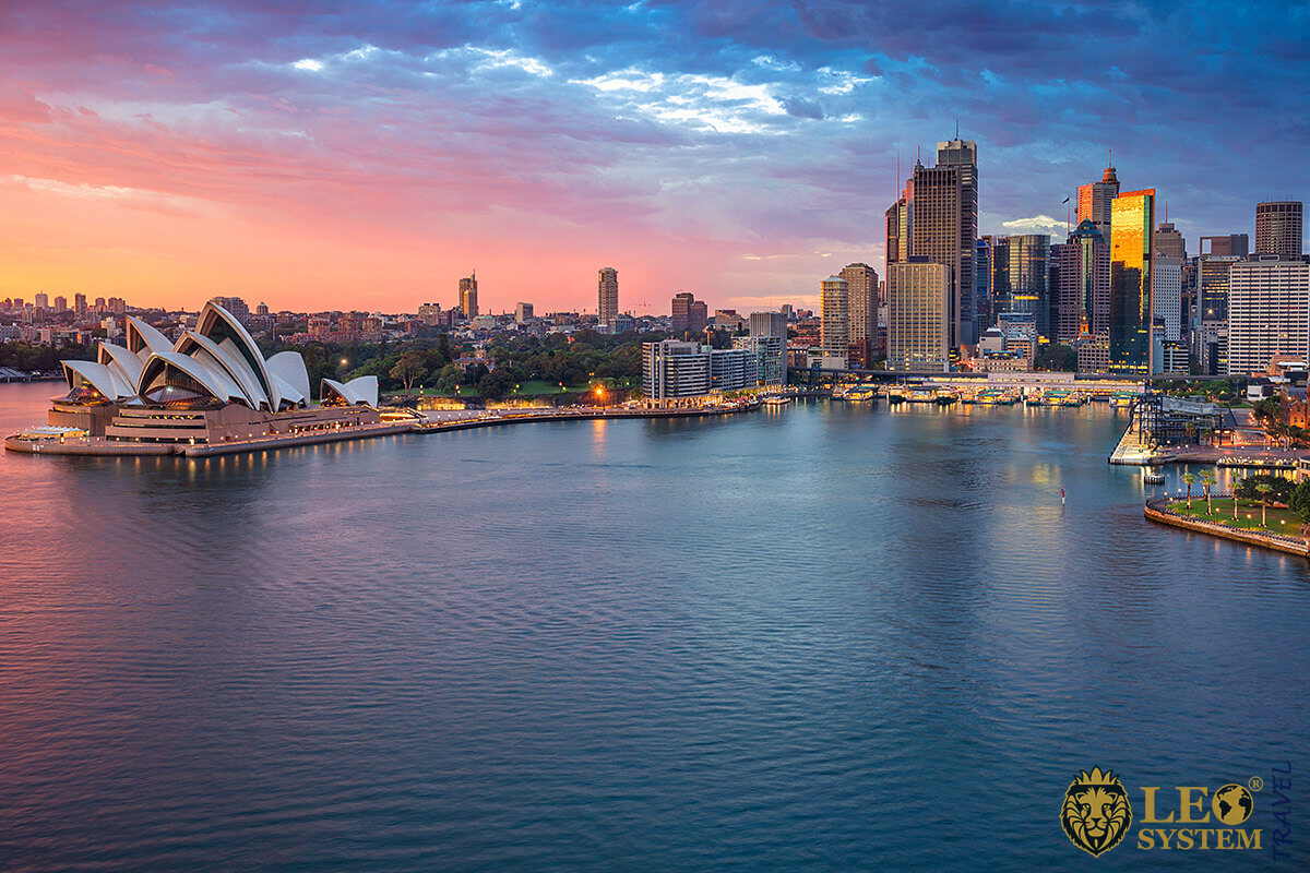View of Sydney Opera House at sunset