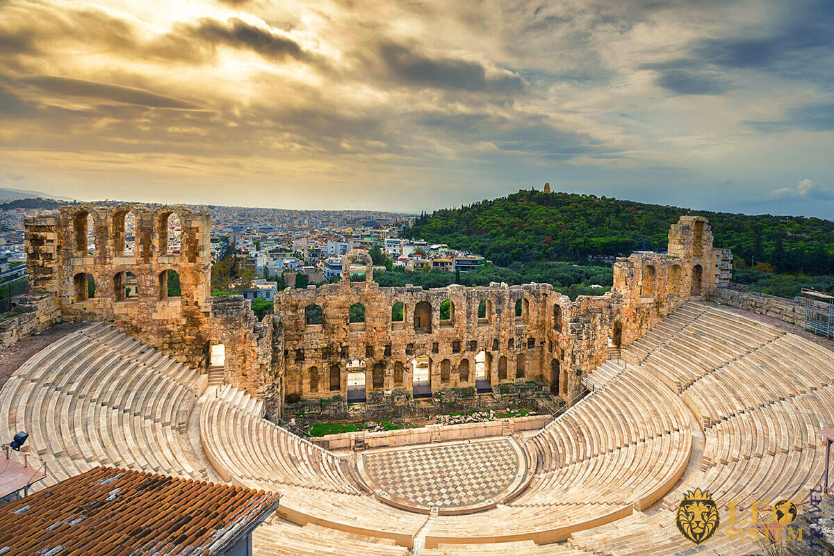 The theater of Herodes Atticus under the ruins of Acropolis