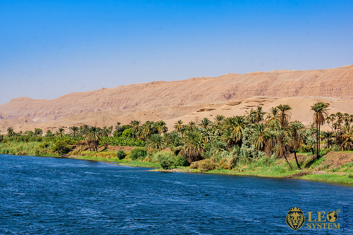 Panoramic view of the longest river in the world - River Nile, Africa