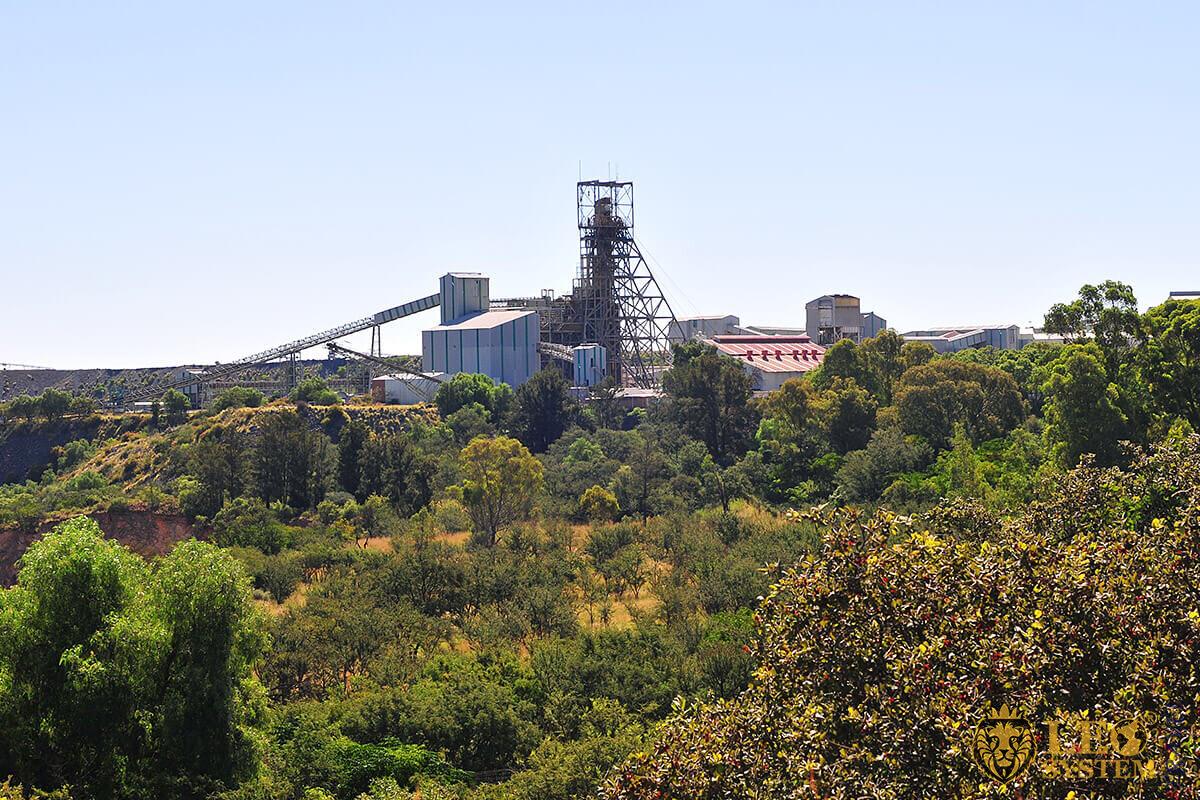 View of famous landmark - Cullinan Diamond Mine in Cullinan