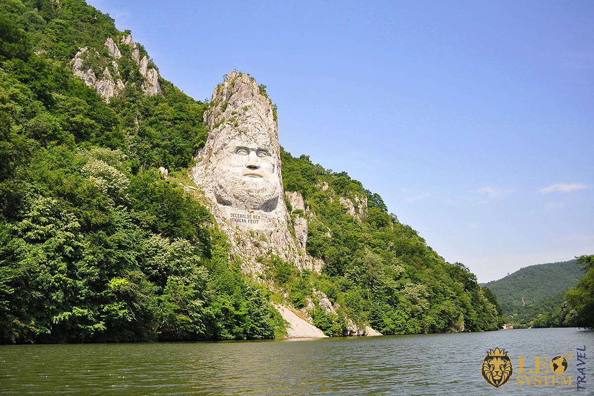 Rock Sculpture of Decebalus and a view of the Danube, Romania