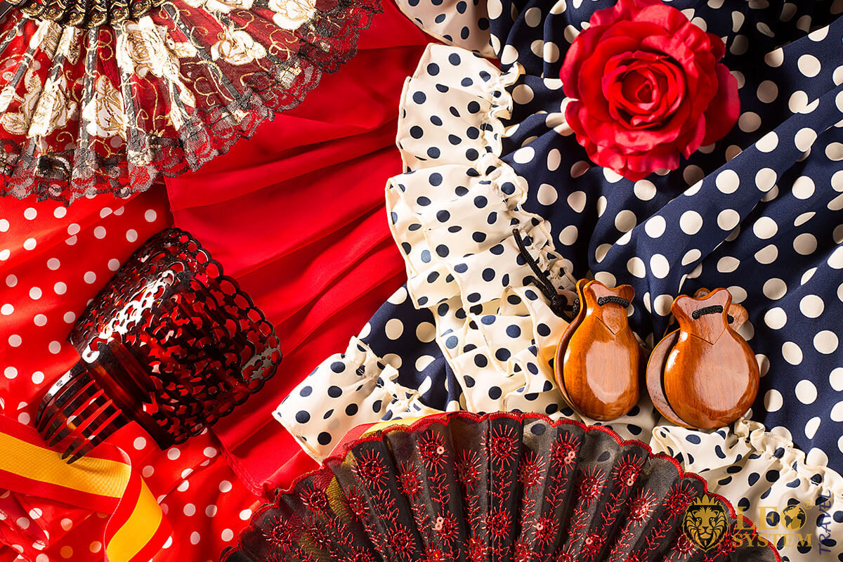 Image of the bright dresses for Flamenco