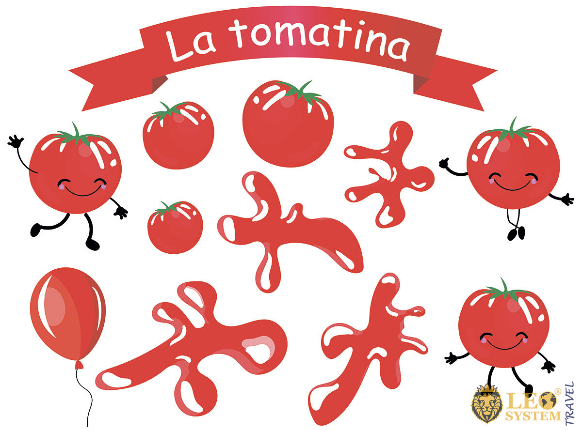 Image of a sign with the name of the Tomato Festival in Spain