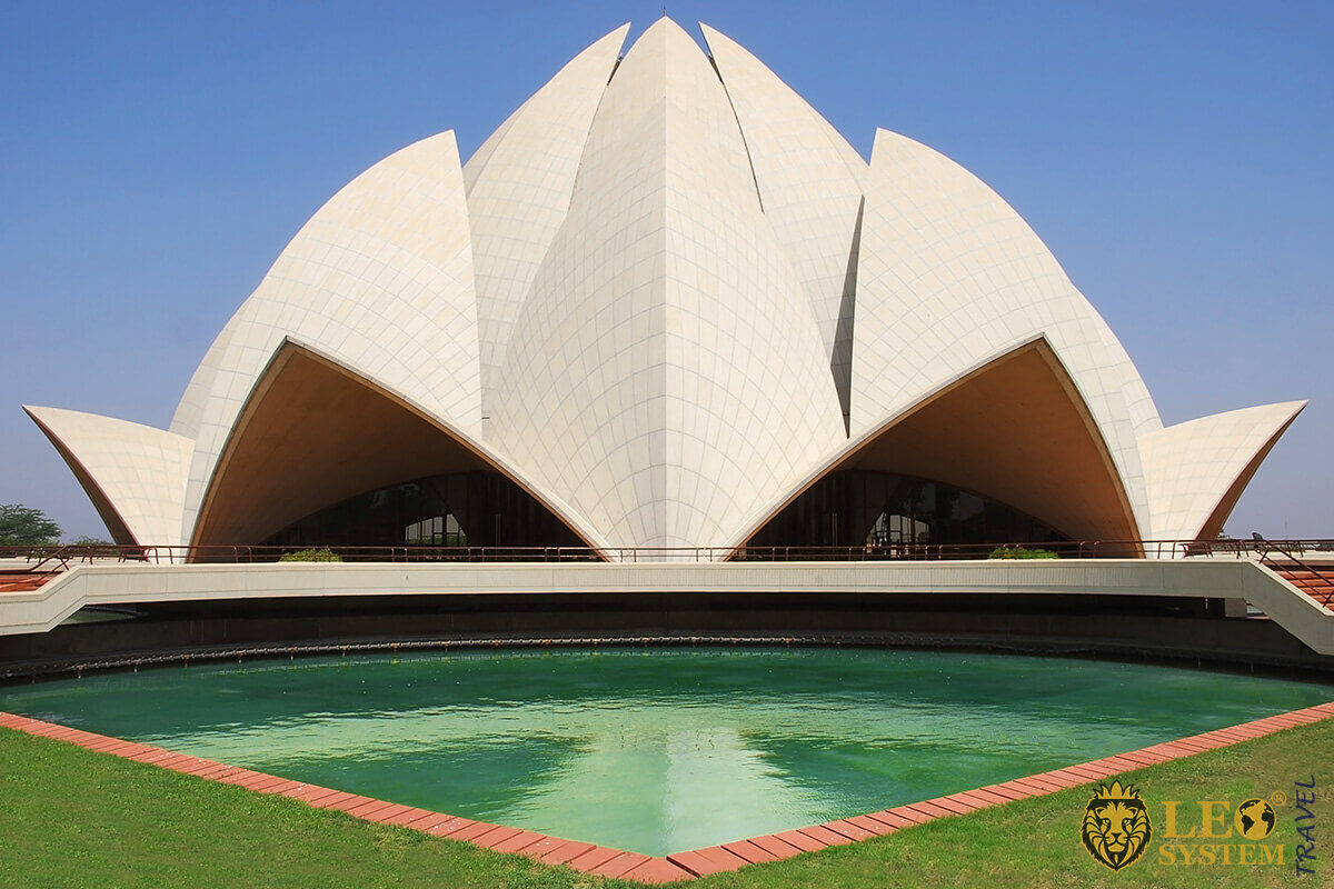 View of the Lotus Temple in New Delhi, India