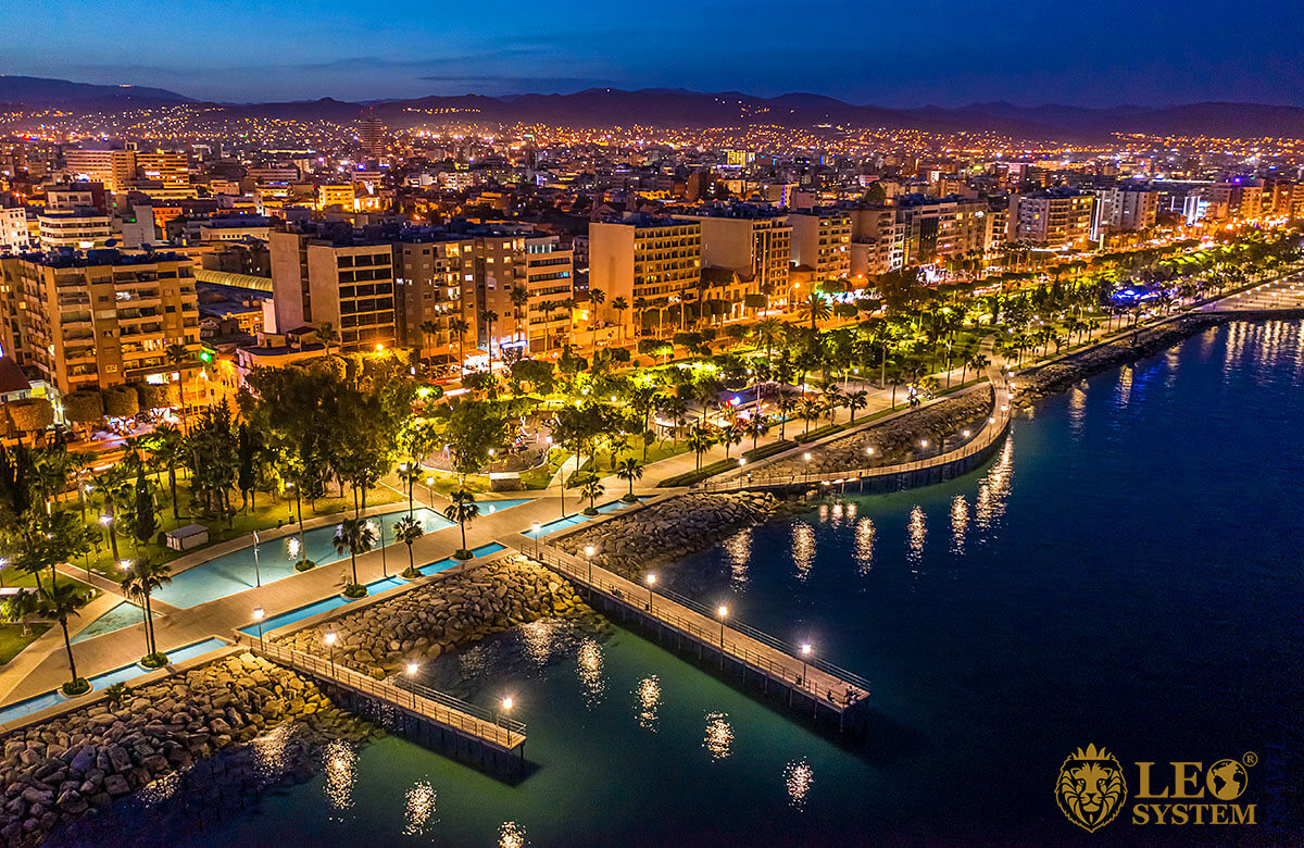 Night view of the city and promenade in Limassol, Cyprus