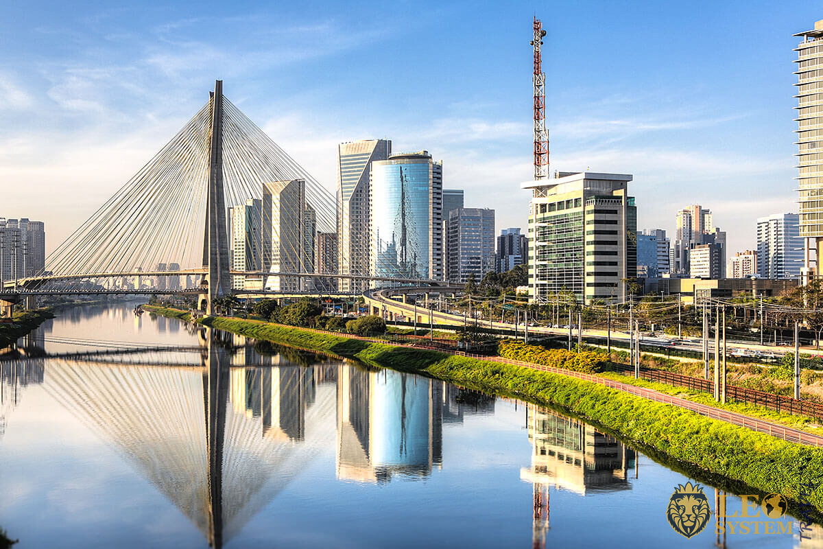 View of the bridge and tall buildings in Brazil, South America