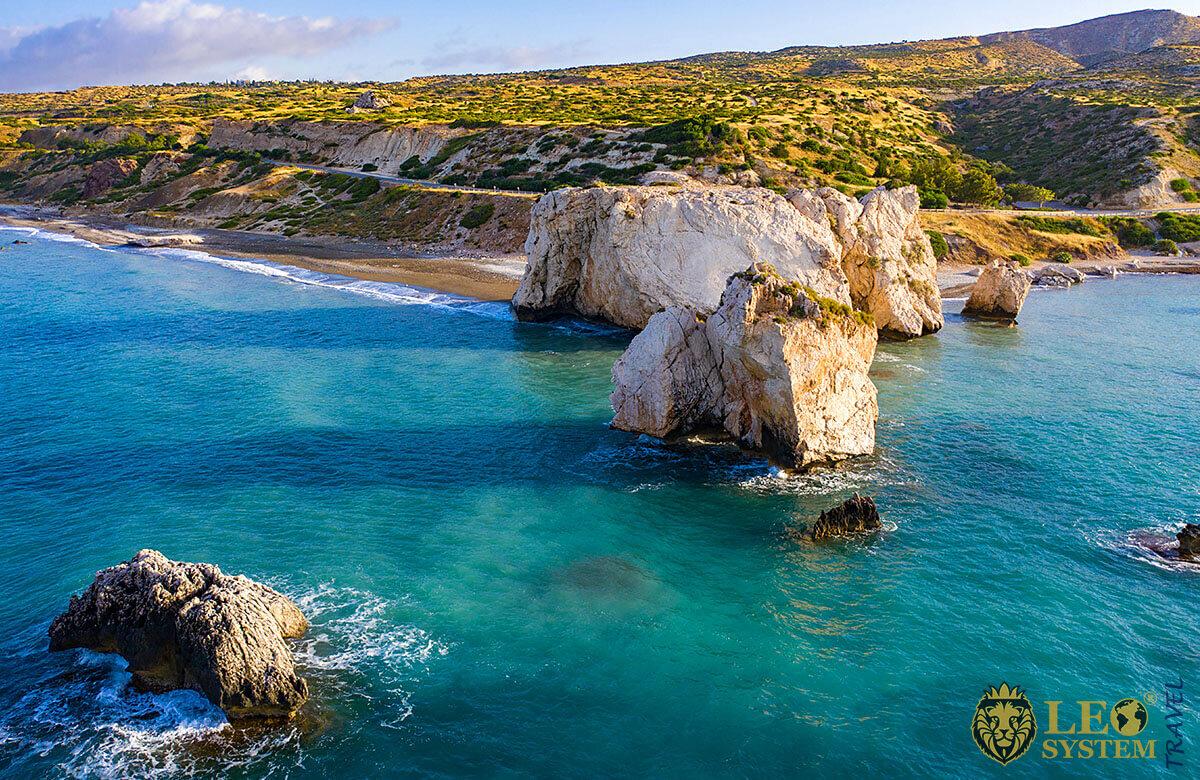 Sea at Aphrodite's Rock in the Mediterranean, Kouklia, Limassol