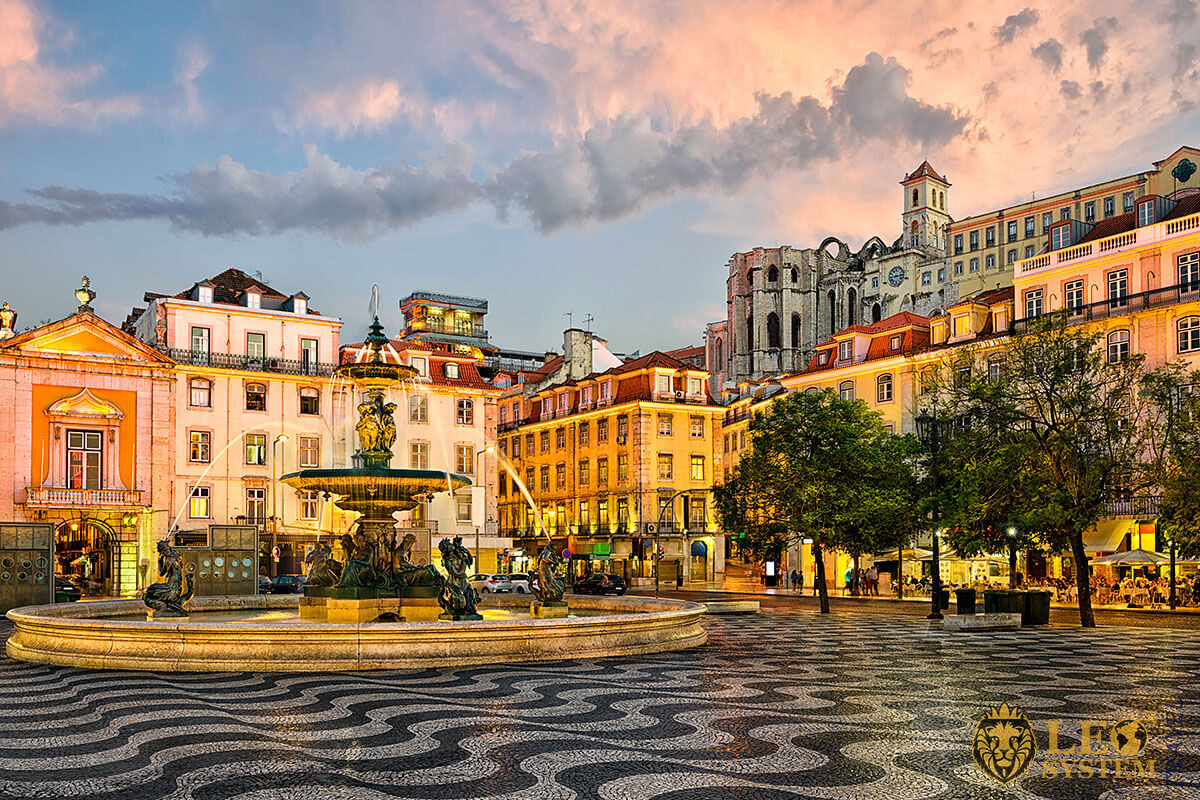 Rossio square and fountain in Lisbon, Portugal