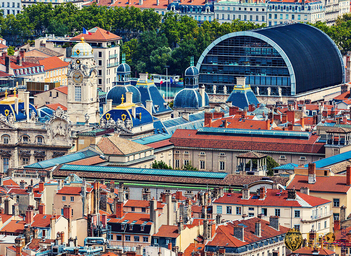 Aerial panorama of Lyon with city hall, France