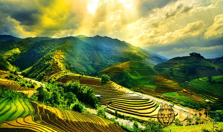 Panoramic view of fields and mountains in Asia