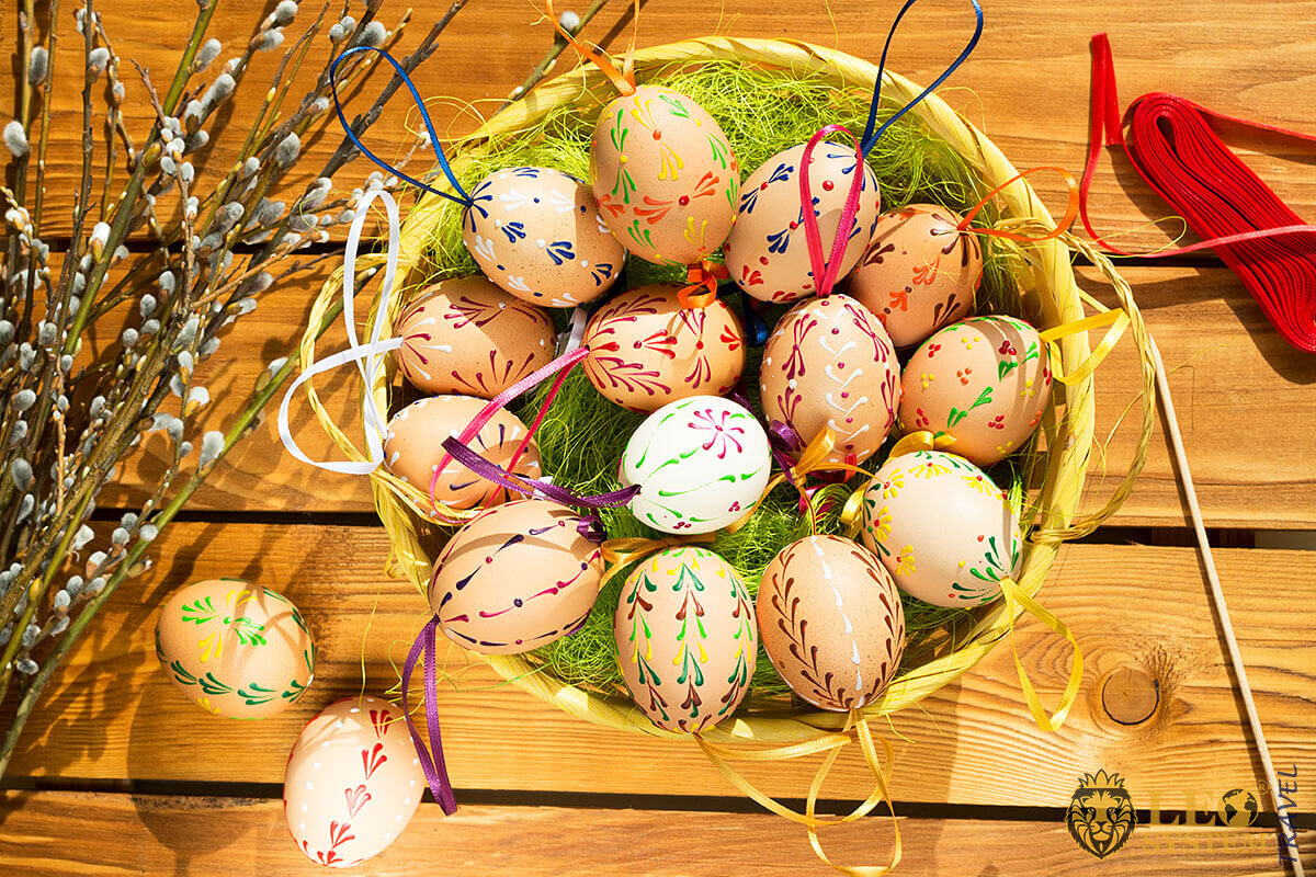 Willow branches and Easter eggs, holiday in Czech Republic