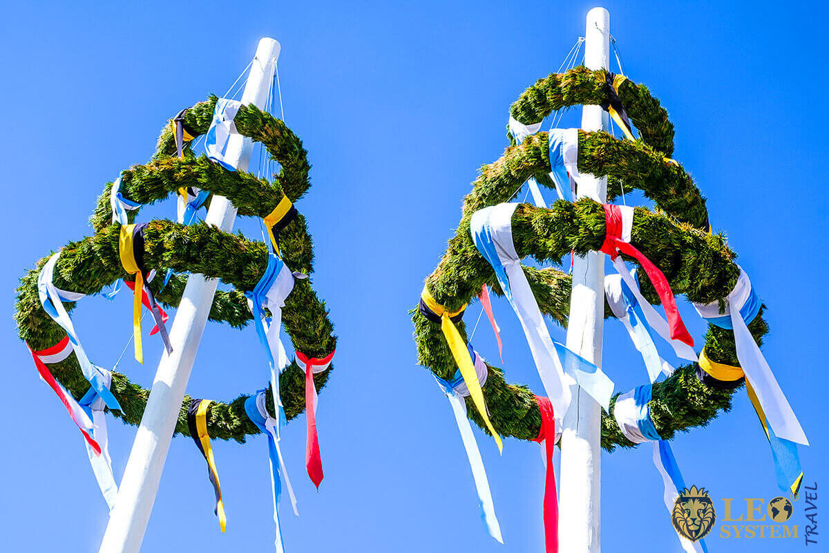 Bavarian Maypole and blue sky, Austria