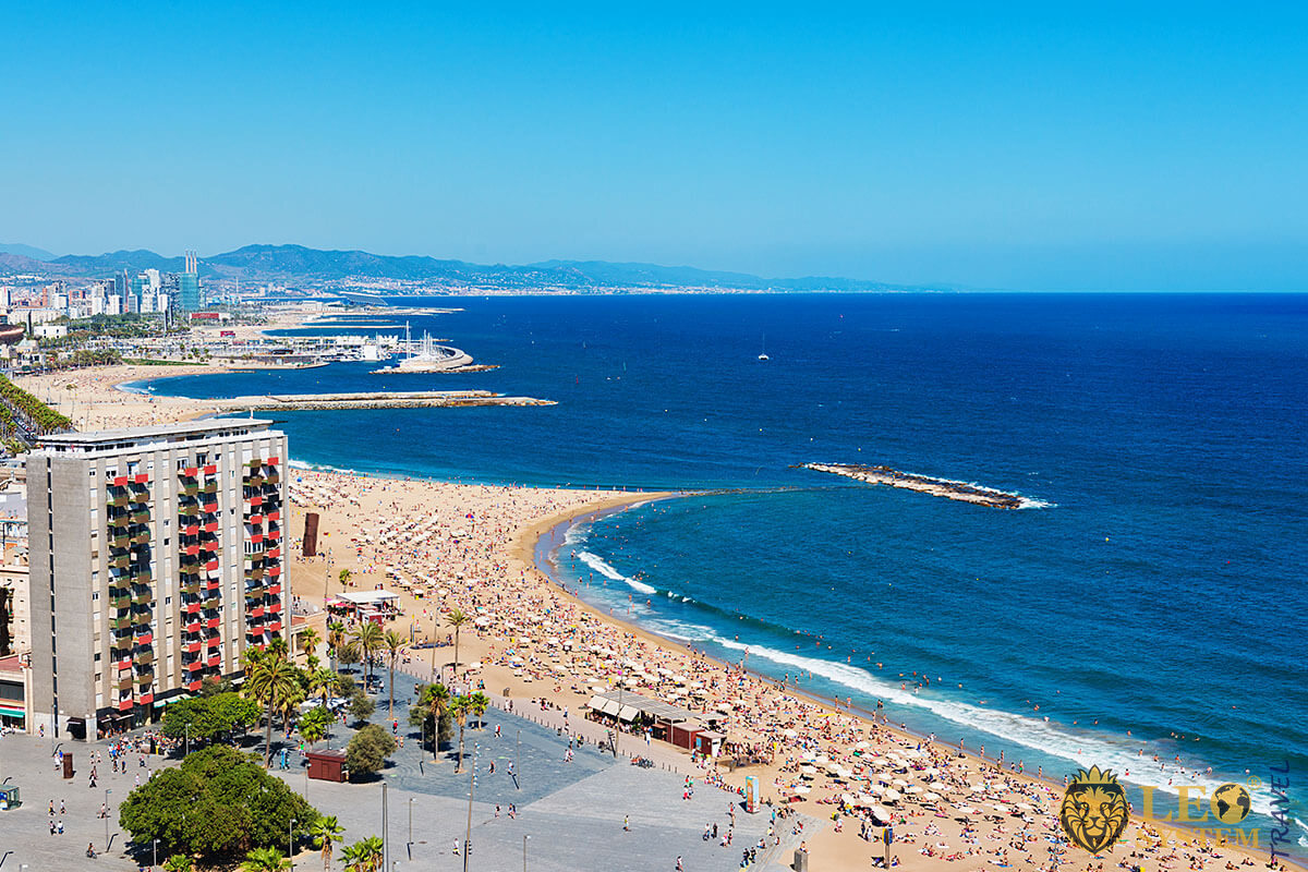 View of the famous Barceloneta Beach