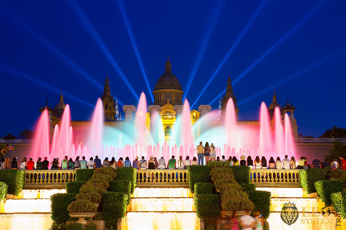 Famous fountain in Barcelona - Magic Fountain of Montjuic