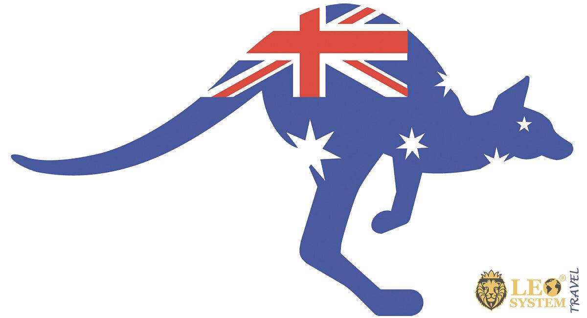Image of Australian kangaroo and country flag