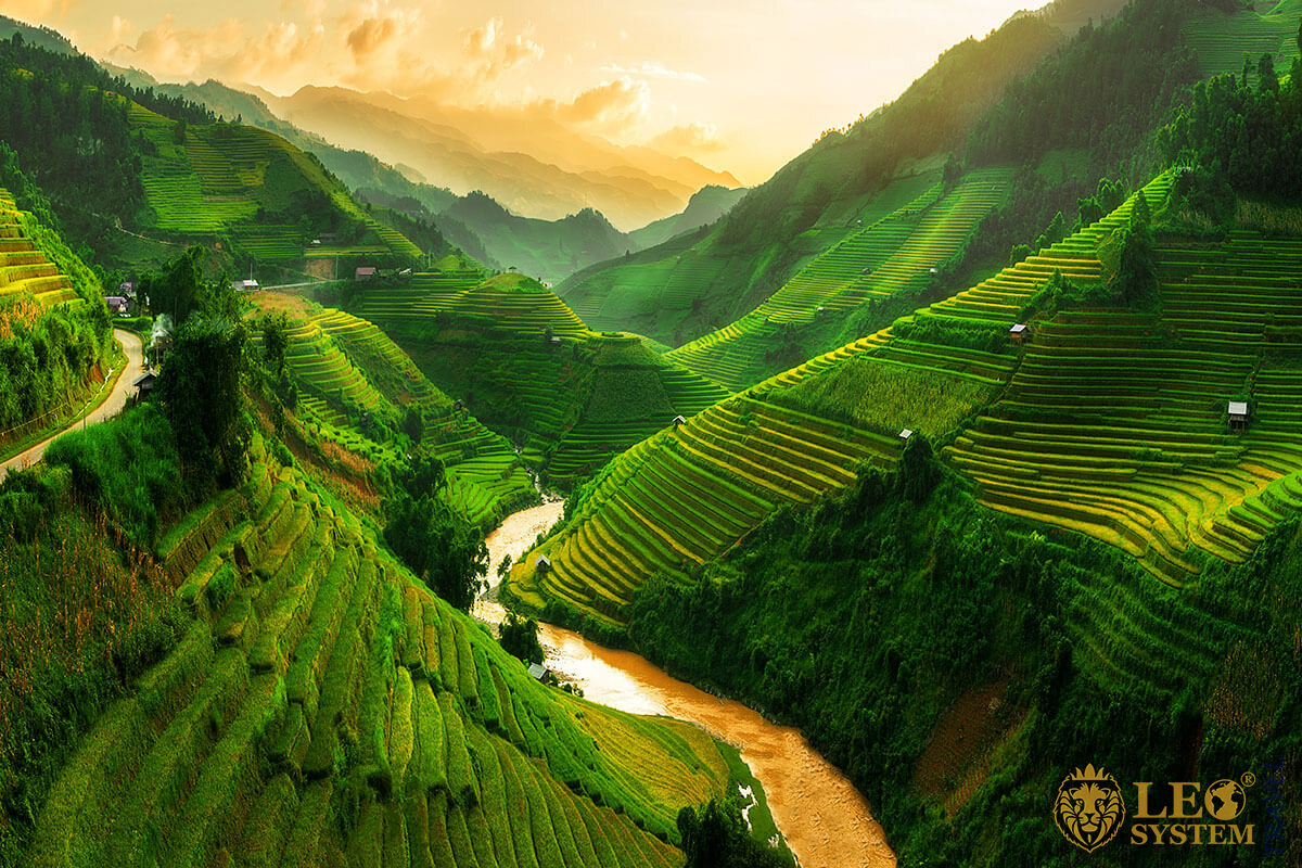 Landscape terraced fields near Sapa, north Vietnam