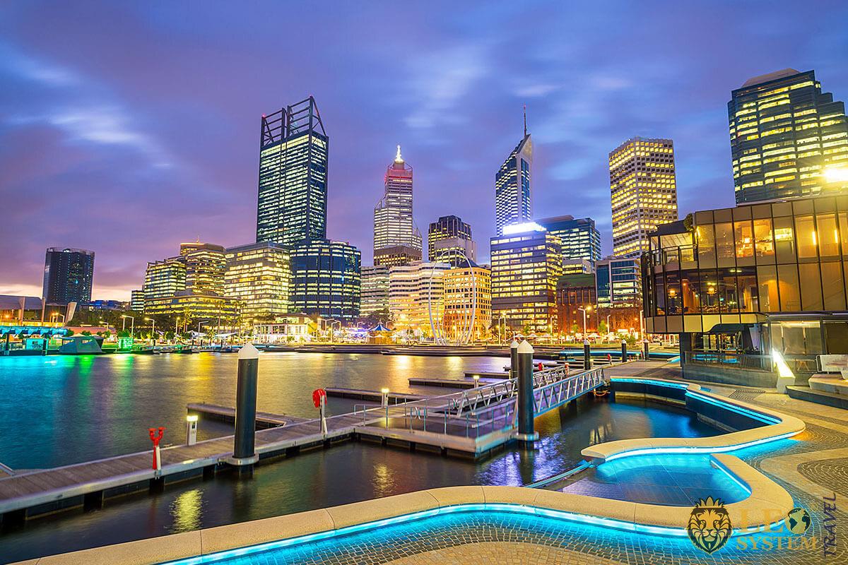 Urban view in Australia at dusk