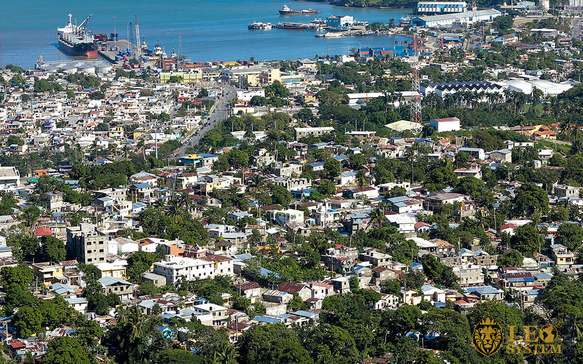 Panoramic aerial view of the streets and buildings in Puerto Plata
