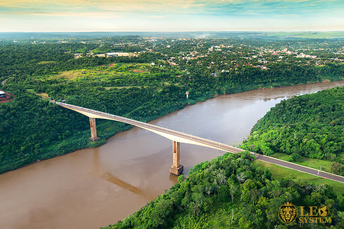 View of the bridge in the city of Puerto Iguazu