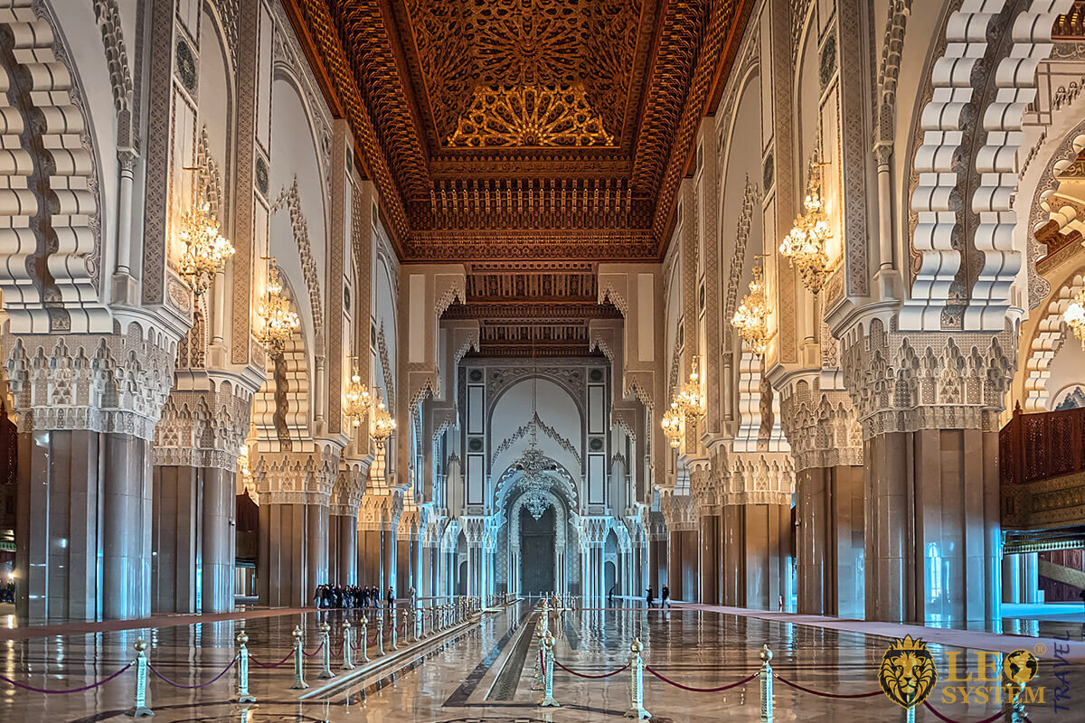 Interior view of the Hassan II Mosque, Casablanca, Morocco