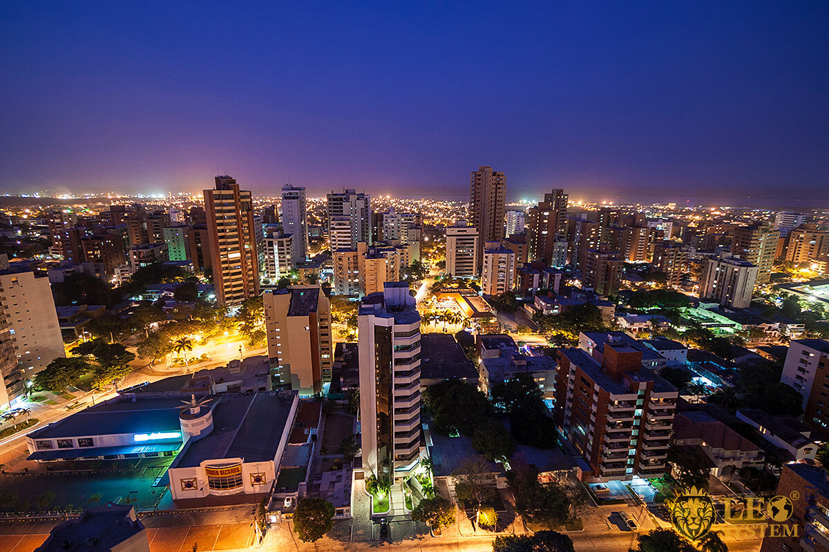 Top view of the night city of Barranquilla, Colombia