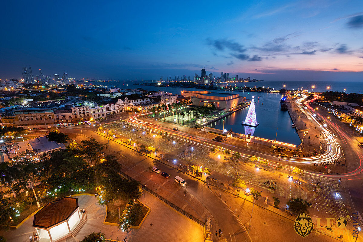 View of the night city of Cartagena, Colombia