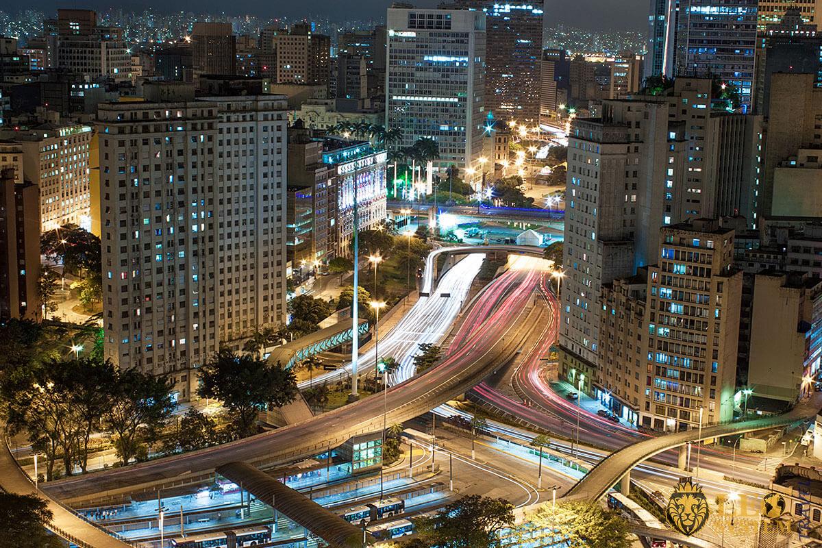 Night panoramic view of the city of Sao Paulo, Brazil