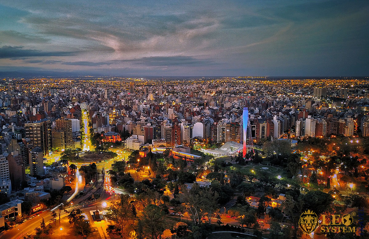 Aerial view of the night city of Cordoba, Argentina