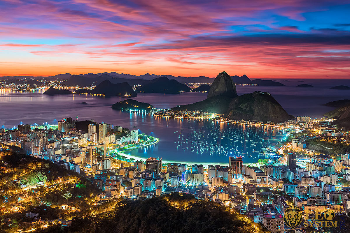 Panoramic view of the large city and amazing sunset in Rio de Janeiro