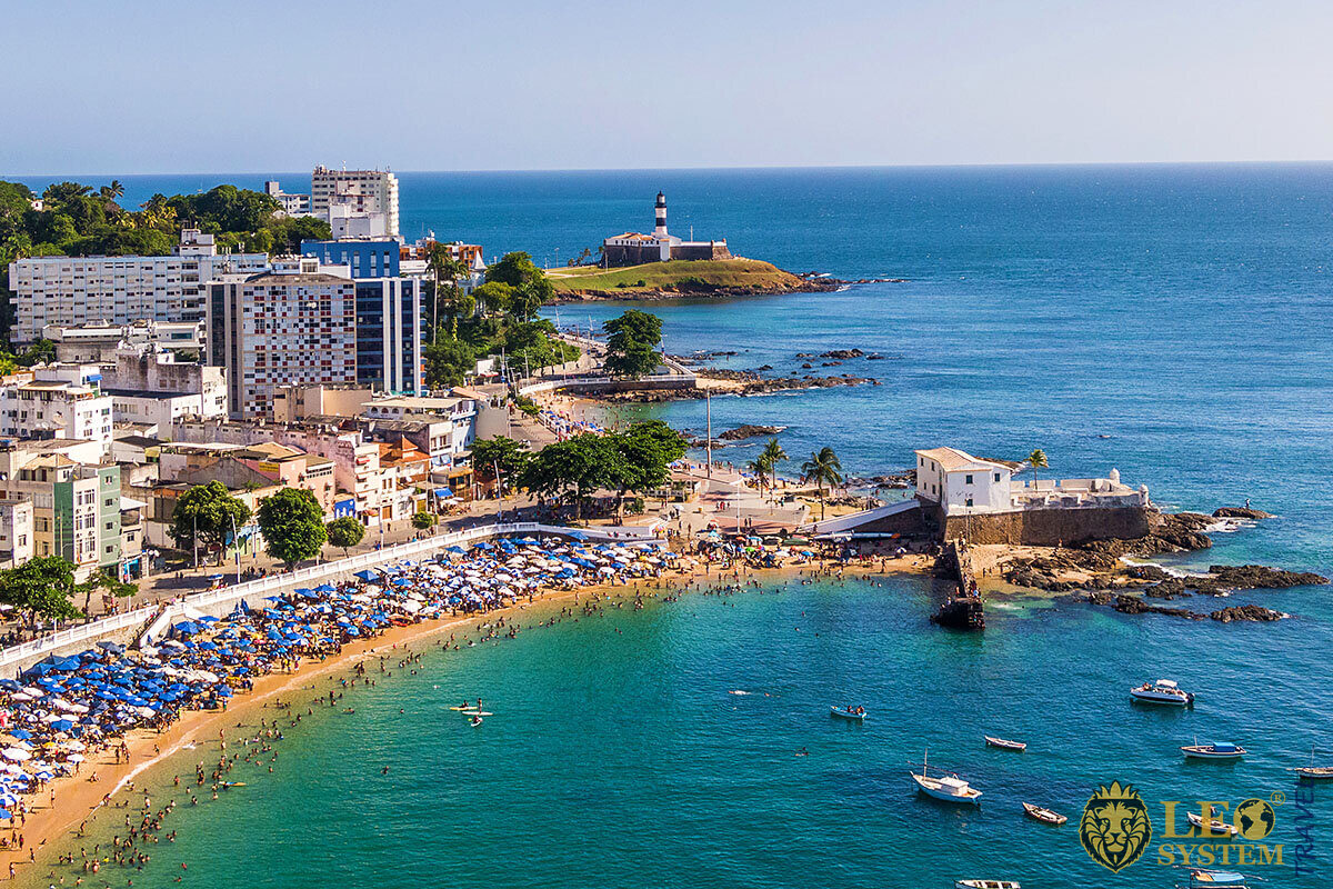 Beautiful panoramic beach view in the city of Salvador